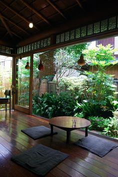 Sliding doors, wooden floor, atrium, courtyard garden