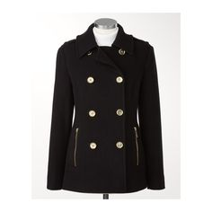 Military peacoat | Coldwater Creek ($130) ❤ liked on Polyvore featuring outerwear, coats, military fashion, military style peacoat, coldwater creek coats, pea jacket and military pea coat
