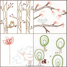 Set of 4 Bird and Tree Embroidery--series 2