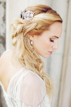 wedding hair. This is perfect. I want to wear my hair down, and with part of it up to keep it out of my face. And the jewels are such a nice touch!