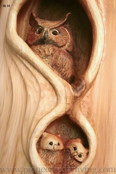 Wood Carving of Owl With Owlets | Pioneer Cedar Living #CedarWoodworkingProjects