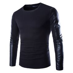 TOP FASHION Men Long Sleeve Slim Casual Shirts PU Leather Splice Cool T-Shirts  #unbranded #CrewNeck