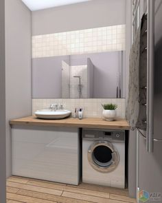 Интерьер ванной, стиральная машина под столешницей, деревянная столешница:
