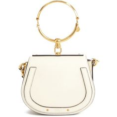 Women's Chloe Small Nile Bracelet Leather Crossbody Bag ($1,550) ❤ liked on Polyvore featuring bags, handbags, shoulder bags, white leather purse, white crossbody purse, chloe shoulder bag, white leather shoulder bag and leather crossbody