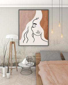 Small Canvas Art, Diy Canvas Art, Face Line Drawing, Abstract Face Art, Line Artwork, Face Lines, Minimalist Art, Room Decor, Art Prints