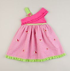 Youngland Spring Dresses  Toddler Watermelon One Shoulder Ruffle Dress Fuchsia