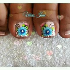 Toe Nail Designs, Toe Nails, Pedicure, Acrylic Nails, Turquoise, Beauty, Style Ideas, Nail Colors, Nail Jewels
