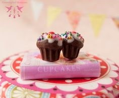 Chocolate Birthday Cupcake Stud Earrings