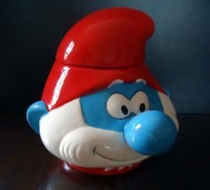 Smurfs Papa Smurf Biscuit / lolly canister Ceramic Cookie Jar