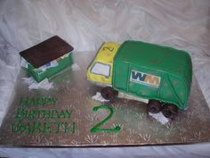 "garbage truck and dumpster - This was one of the most fun cakes I've made!  The birthday boy was soooo excited when he saw it!  But at the party he had a meltdown when they started cutting the cake~ he was yelling ""don't cut my twuck""!  I guess he really liked it??  Truck and dumpster are cake covered in fondant.  ""garbage"" in dumpster is made of chocolate.  ""newspaper"" is a sugar sheet.  TFL!!"