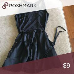 Cecico Black tie tank dress Cotton satin bottom with pockets, formfitting Cecico Dresses