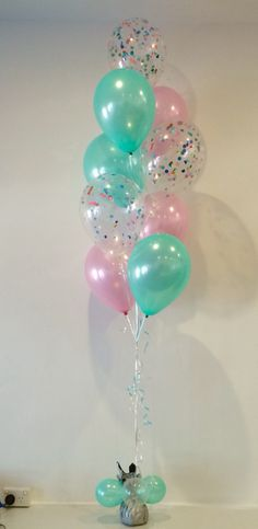 Mint green, pearl pink and confetti filled balloons - so lovely!