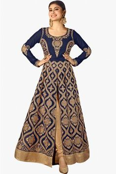 Navy Blue And Cream Designer Embroidered Faux Georgette Anarkali Suit