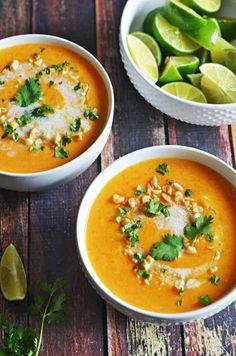 Thai Coconut Curry Butternut Squash Soup. I'm obsessed! So flavorful and satisfying on a cold Fall day.   http://hostthetoast.com