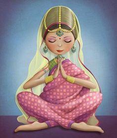 Mujer con la cabeza baja y manos juntos en el pecho haciendo el gesto de namasté