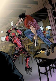 #Deadpool #Fan #Art. (Deadpool vs Wolverine colored) By: Cemiroz. (THE * 5 * STÅR * ÅWARD * OF: * AW YEAH, IT'S MAJOR ÅWESOMENESS!!!™) [THANK U 4 PINNING!!!<·><]<©>ÅÅÅ+(OB4E)    https://s-media-cache-ak0.pinimg.com/564x/9c/0e/d7/9c0ed781c7922d4b37584a3ed59453ba.jpg