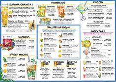 Menu Design Posillipo Drink menu Okinawa, Japan  Designed by Ayu Akiyama Delicious Design Tokyo, Japan