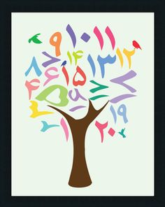 Persian Numbers Tree Poster