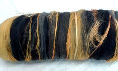 Merino wool batt. Carded Australian Merino wool and silk art batts for spinning felting 100 grams 11205 by feltfibrecraft on Etsy