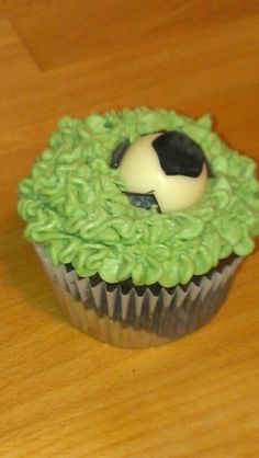 Chocolate cake with vanilla butter cream, soccer ball topper 1