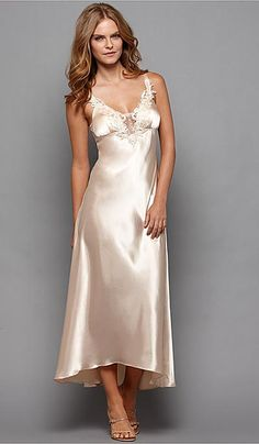 57f0c24e4f Flora Kikrooz Stella satin charmeuse gown with lace trim in almond or ivory  Lingerie Sleepwear