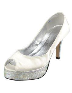 Concise Ivory Satin Peep Toe High Heel Wedding Shoes - Milanoo.com