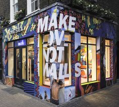 "Diesel's latest campaign is tearing down walls in their ""Make love not walls' feature. In this case, Tenn has put up some colourful walls at Diesel. Retail Facade, Shop Facade, Murals Street Art, Street Art Graffiti, Cafe Design, Store Design, Mural Cafe, Diesel Store, Magazine Layout Design"