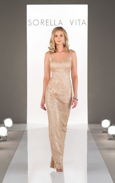 """Sorella Vita Designer Series Bridesmaid Dress: Modern Metallic; Featuring an elegant fitted bodice that slims your shape, while framing your face with a v-neckline. Highlight your shoulders with sexy straps and a plunging """"v"""" in the back."""