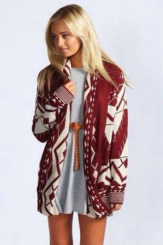 Aztec pattern cardigan.