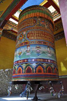 Colorful prayer wheel at Juela Monastery