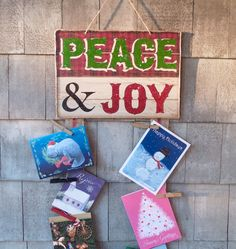 Christmas Card Holder Peace and Joy Country by PurplePirateStudios