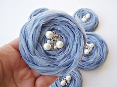 Blue Chiffon Roses Handmade Appliques by BizimSupplies on Etsy