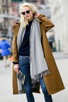 camel colored car coat and gray wool fringe scarf