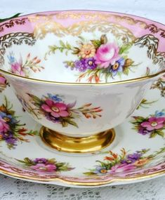 pretty floral and gold trimmed teacup and saucer