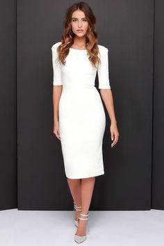 LULUS Exclusive We Built This Midi Ivory Midi Dress