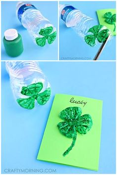 How to make a recycled plastic water bottle shamrock for St. Patrick's Day