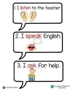 Classroom rules in a speech bubble for your ESL classroom. Vip Kid, Classroom Rules, Ask For Help, Esl, Teaching Ideas, Bubbles, Teacher, Education, Kids