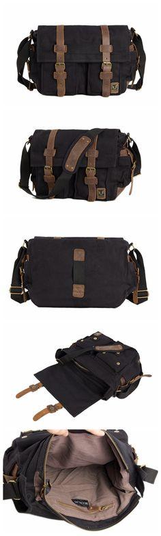 Men Casual Leather Canvas Shoulder Bag Hiking Satchel Messenger Handbag Bag