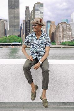 The Cuban Collared Shirt - Goorin Brothers Dean The Butcher Hat, Warby Parker Sunglasses, Iro Cuban Collared Shirt, Ben Sherman Trousers, Jay Butler Penny Loafers