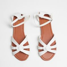 "White Open Toe Woven Vegan Leather Huaraches Shoes White Faux Leather Open Toe Flat Sandals | D'orsay Cutout Sandals in White  D'orsay style sandal Adjustable ankle strap Rounded open toe Flat 1/4"" heel  Faux (vegan) leather  * New in box * Fits large - size down Shoes Sandals"