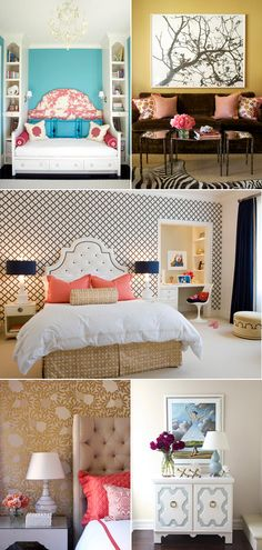 all three of these rooms are amazing! Love the headboards and the tree picture