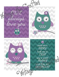 owl prints for nursery, baby girls room, owl theme nursery, artwork for childrens room, purple teal prints, pink and teal girls room, owl