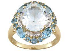 Aquamarine 10k yellow gold ring 5.64ctw Aquamarine Birthstone Ring, 10k Gold Ring, Traditional Engagement Rings, Yellow Gold Rings, Santa Maria, Diamond, Jewelry, Jewlery, Jewerly