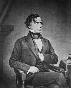 "Franklin Pierce or ""Young Hickory of the Granite Hills"" was the fourteenth president of the United States. Franklin Pierce was born November 1804 and the died October List Of Presidents, Presidents Wives, American Presidents, Today In History, Us History, American History, Family History, Mexican American, American War"