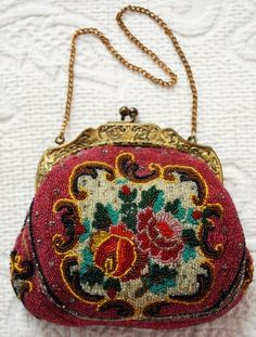 Vintage French Purse Beaded & Embroidered ;