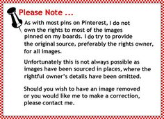 Disclaimer to my pins