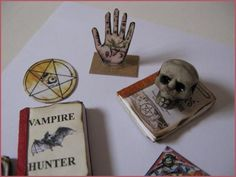 Doll House Miniatures - Miniature fortune teller's tools - books, scull and tarot cards - set C. 1/12 scale was sold for R110.00 on 5 Mar at 20:49 by Vegar in Cape Town (ID:33446772)
