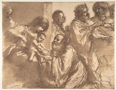 The Adoration of the Magi.  Guercino (Giovanni Francesco Barbieri)  (Italian, Cento 1591–1666 Bologna)