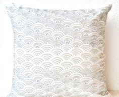 ivory white throw pillows with detailed embroidered waves sashiko pillow covers decorative throw pillow