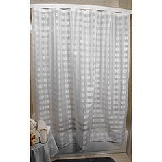 A charming checkered print lends style to this sheer white shower curtain from Vision Exchange. This shower curtain features interior grommets and is compatible with the Ultimate Shower Bar or the Ultimate Lighted Bar.